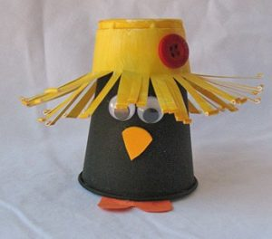 Plastic cup scarecrows