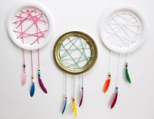paper plate dream catcher craft